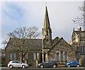 NS3975 : Dumbarton West Kirk: church halls by Lairich Rig