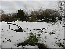 H5664 : An old plough in the snow, Radergan by Kenneth  Allen