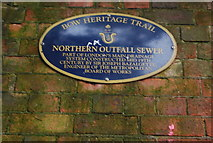 TQ3783 : Northern Outfall Sewer, Blue Plaque by N Chadwick