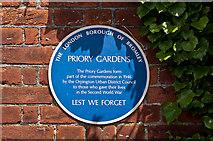 TQ4666 : Plaque, Priory Gardens gates by Ian Capper