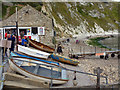 SY8279 : Boats near the Old Boat House cafe, Lulworth Cove by Phil Champion