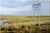 SD2063 : Danger sign at Snab Point by Stephen Middlemiss