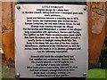 TL2075 : Plaque on village sign, Little Stukeley by Alex McGregor
