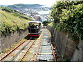 SN5882 : Carriage descending Aberystwyth Cliff Railway by Jaggery