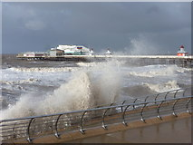 SD3036 : Blackpool: prom-bashing waves and the North Pier by Chris Downer