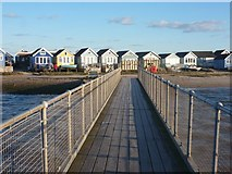 SZ1891 : Hengistbury Head: beach huts and the ferry jetty by Chris Downer