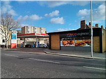 TQ2677 : Esso Garage and Tesco Express Fulham Road Chelsea by PAUL FARMER