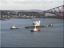 NT1279 : The' Forward Island' of HMS Queen Elizabeth being delivered to Rosyth by M J Richardson