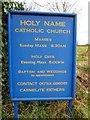 TQ0486 : Holy Name Catholic Church, Denham, Nameboard by Alexander P Kapp