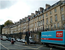 ST7565 : An elevated terrace and an elevated traffic light, Walcot Parade, Bath by Jaggery