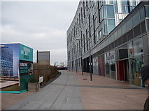 TQ3979 : View of the path heading to the Thames from the path to the Emirates Air Line by Robert Lamb
