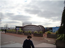 TQ3979 : View of a sculpture outside the O2 from the path to the Emirates Air Line by Robert Lamb