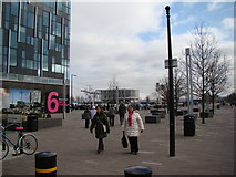 TQ3979 : View of the Emirates Greenwich Peninsula cable car stop from the path by Robert Lamb