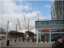 TQ3979 : View of the O2 from the path leading to the Emirates Air Line by Robert Lamb