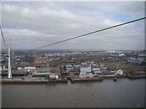 TQ3980 : View of the Excel Exhibition Centre and Royal Docks from the Emirates Air Line by Robert Lamb