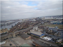TQ3980 : View of the Royal Docks apartments from the Emirates Air Line by Robert Lamb