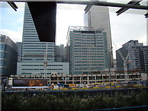 TQ3780 : View of buildings in Canary Wharf from Poplar station by Robert Lamb