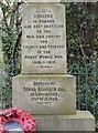 SJ9694 : Godley Hill War Memorial (front inscription) by Gerald England