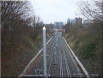 SJ8195 : Metrolink tramline, Firswood by JThomas