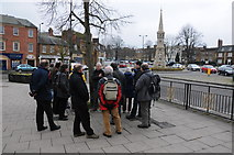 SP4540 : Geographers at Banbury Cross by Philip Halling