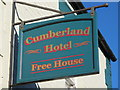 NY7146 : Sign for The Cumberland Hotel, Station Road by Mike Quinn