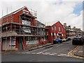 ST1268 : Cross Street scaffolding, Barry by Jaggery