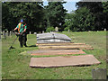 SP0892 : Strimming the Old Meeting House re-interments, Witton Cemetery by Robin Stott