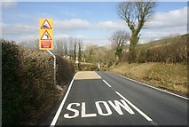 SD2277 : Road Traffic Sign on Ireleth Brow by Stephen Middlemiss