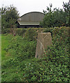 TF2469 : Trig point, hedge and barn by Trevor Littlewood
