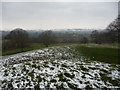 SO4013 : View from the motte of Penrhos Castle in March by Jeremy Bolwell