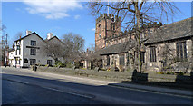 SJ8588 : St. Mary's Church on the High Street, Cheadle by Geoff Royle