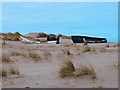 NU0546 : Boats on the dunes, Cheswick Sands by Oliver Dixon
