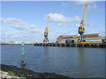 NZ4057 : Cranes at Sunderland Harbour by Malc McDonald
