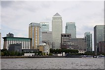 TQ3680 : Canary Wharf from Rotherhithe by Steve Daniels