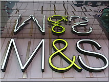 TQ3884 : Stratford: M&S reflected by Chris Downer