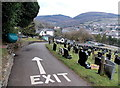 ST2390 : Approaching the exit from Danygraig Cemetery, Risca by Jaggery