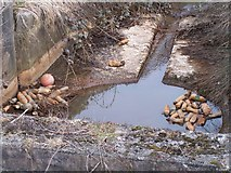 SD3727 : Ball and Bottle Bottleneck, Marsh Drain Channel, near YMCA, Mythop Road, Lytham by Terry Robinson