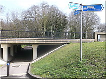 TQ2373 : Cyclepath junction at Tibbets Corner by David Anstiss