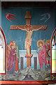 TQ3189 : St John the Baptist, Wightman Road - Wall painting by John Salmon