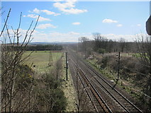 NT5678 : The East Coast Main Line Looking South from Fortoun Bank by Dr Duncan Pepper