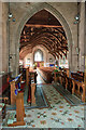 SJ4905 : Church of St Mary & St Andrew, Condover - C17 hammerbeam roof by Mike Searle
