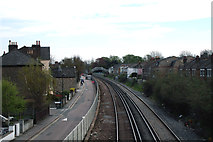 TQ2075 : Mortlake:  View east from footbridge by Dr Neil Clifton