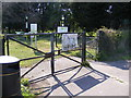 TM3876 : Entrance gates at Basley Park by Adrian Cable