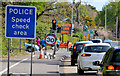 "J3683 : ""Speed check"" sign, Jordanstown by Albert Bridge"