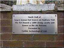 NY4057 : Plaque, Hadrian's Wall, Carlisle by Kenneth  Allen