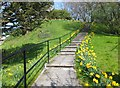NT9928 : Steps to the war memorial on Tower Hill, Wooler by Barbara Carr
