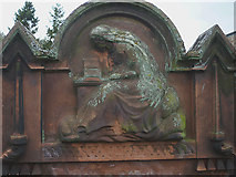 NY6565 : Carved figure on headstone, Greenhead by Karl and Ali
