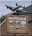 TA1417 : Village sign and Lancaster bomber by Steve  Fareham