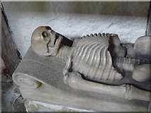 SK4023 : Breedon-on-the-Hill: skeleton in the church by Chris Downer