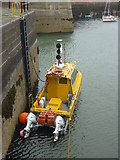 NT6779 : Coastal East Lothian : Survey Boat In Victoria Harbour, Dunbar by Richard West